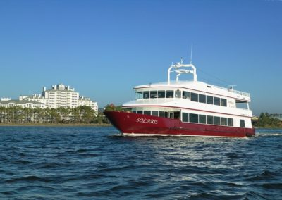 The SOLARIS is a 125' yacht with three decks of indoor and outdoor spaces for up to 150 people.