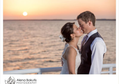 After sealing your love with a kiss, take breathtaking sunset pictures with family and friends on the sky deck photo platform.