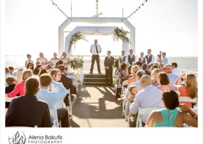 The open air sky deck offers unlimited sunset views, fresh coastal breezes and a majestic setting for your wedding.
