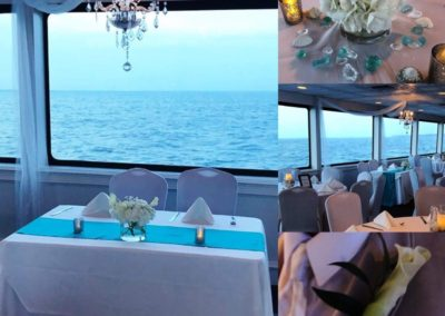 Sea glass and crystals for this yacht reception.