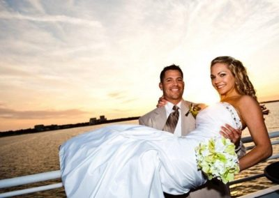 Sunset yacht wedding followed by reception out at sea