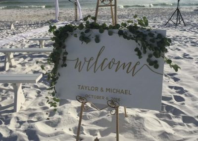 Custom sign by our wedding planners for this Destination Beach Wedding.