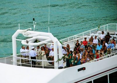It's just you and your guests as you get married in the middle of the emerald green waters in a private and romantic yacht wedding.