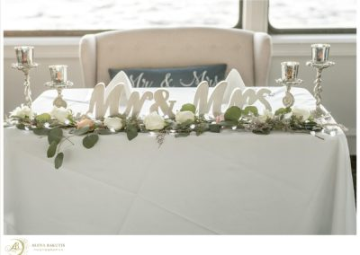 Head table wedding flowers for the newlyweds