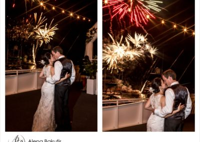 End your yacht wedding with a bang with a custom fireworks show.
