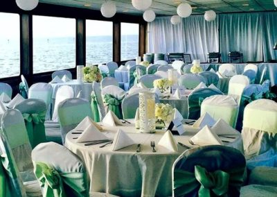 Spring wedding reception out at sea