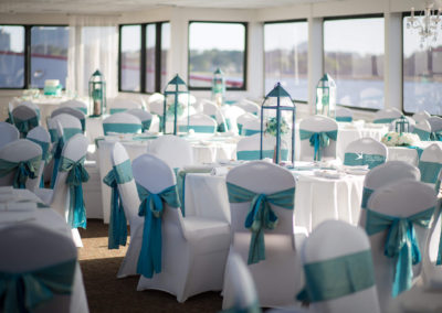 Spring colors and elegant spaces are the setting for this reception out at sea.